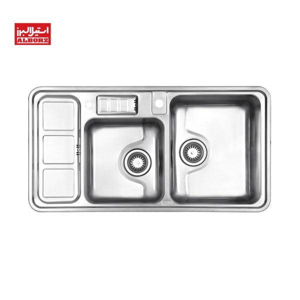 سینک ظرفشویی استیل البرز کد 813 توکار ابعاد 52*100