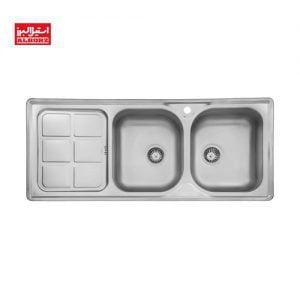سینک ظرفشویی استیل البرز مدل 215 ابعاد 52*120 توکار