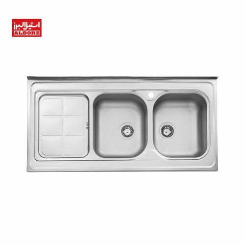 سینک ظرفشویی استیل البرز کد 215.60 روکار ابعاد 60*120 دو لگن