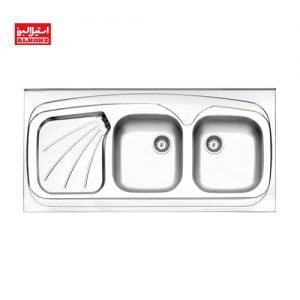 سینک ظرفشویی استیل البرز کد 60.270 ابعاد 60*120 روکار