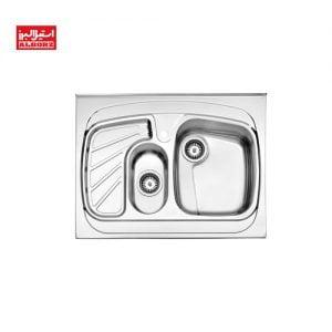 سینک ظرفشویی روکار استیل البرز کد 608.60 ابعاد 60*80 استیل