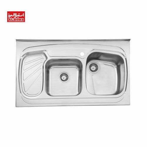 سینک ظرفشویی استیل البرز 60.611 ابعاد 60*100 دو لگنه