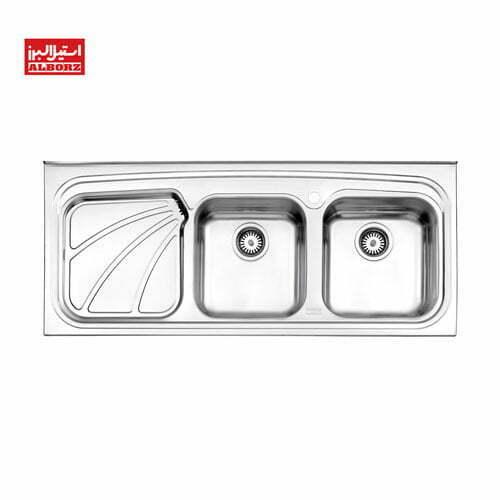 سینک ظرفشویی استیل البرز کد 612.50 ابعاد 49.9*120