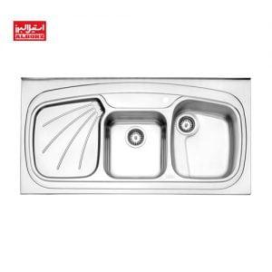 سینک ظرفشویی استیل البرز کد 614.60 ابعاد 60*120