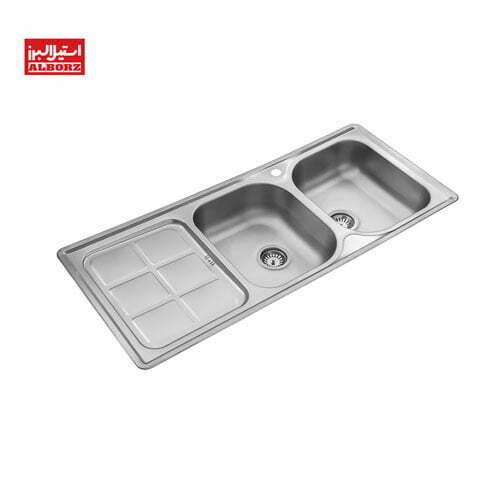 سینک ظرفشویی 215 استیل البرز توکار ابعاد 52*120