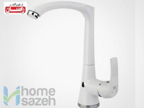 شیر آلات بهداشتی راسان لوتوس سفید - سینک مدل شیر سینک اهرمی لوتوس سفید
