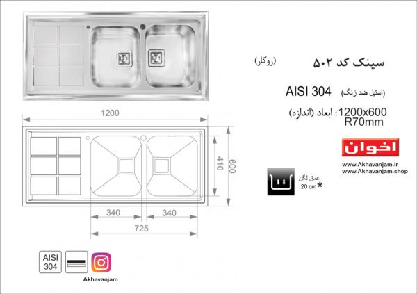 مشخصات کامل سینک ظرفشویی 500 اخوان